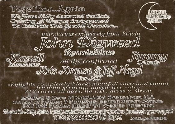 john digweed zero greensboro About