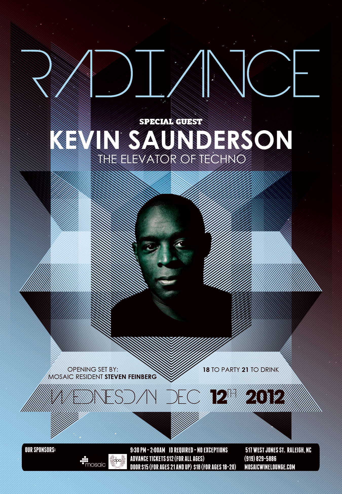 Flyer for KEVINSAUNDERSON Mosaic 12/12/12 Raleigh, NC