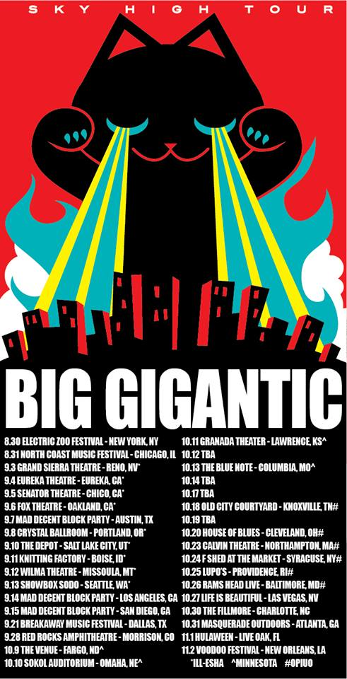 big gigantic tour dates Big Gigantic Sky High Tour Free Ticket Giveaway Charlotte, NC Oct 30