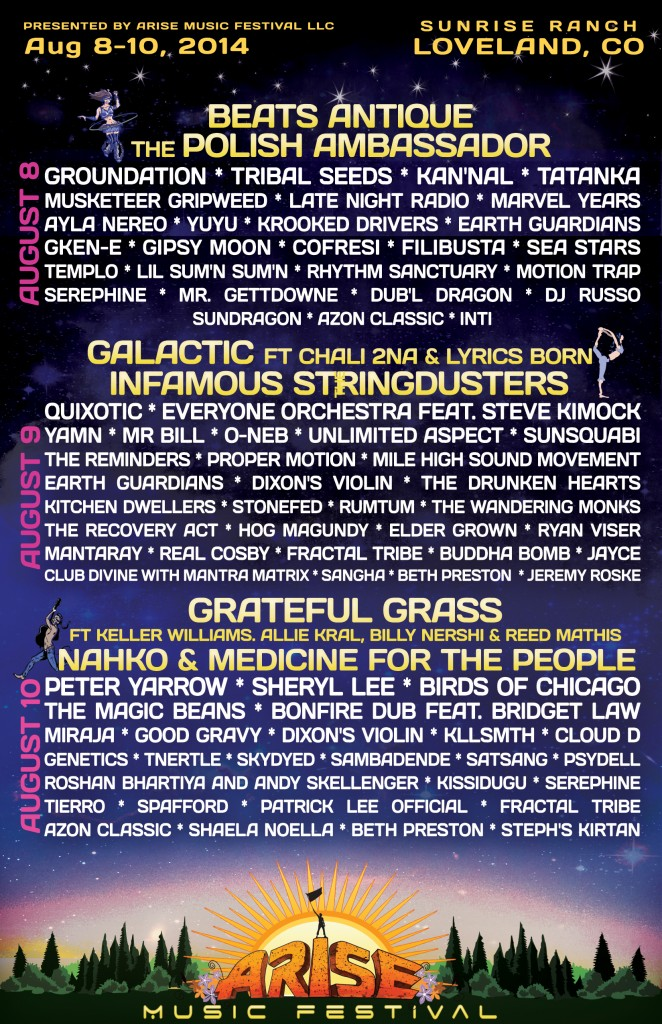 Arise Music Festival 2014 Daily Lineup Arise Music Festival Aug 8 10, 2014 Loveland, CO